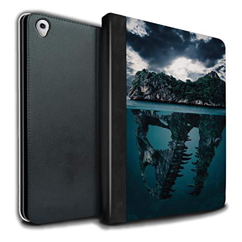 eSwish PU-Leder Hülle/Case/Brieftasche für Apple iPad Pro 9.7 Tablet/Tropische Insel/T-Rex Muster/Dinosaurier Jurassic Earth Kollektion T-rex-mobile Handy