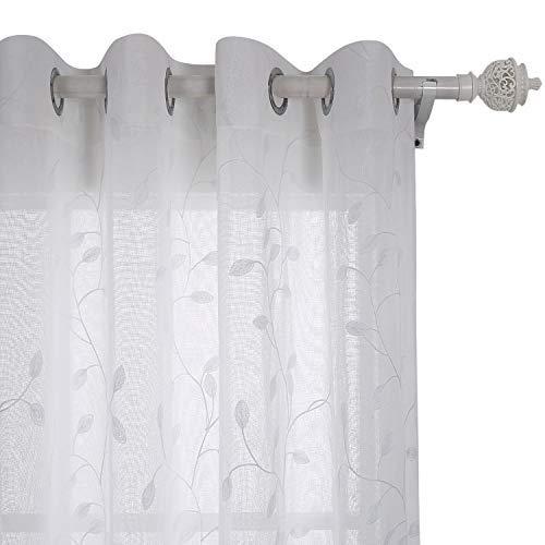 Deconovo tende trasparenti voile ricamate a fogli con occhielli per casa moderne bianco 132x242 cm due pannelli
