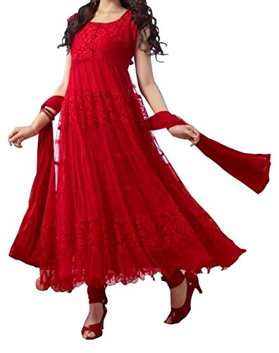 Lady Zone Women's Net Salwar Suit (Red,Free Size, Unstitched)