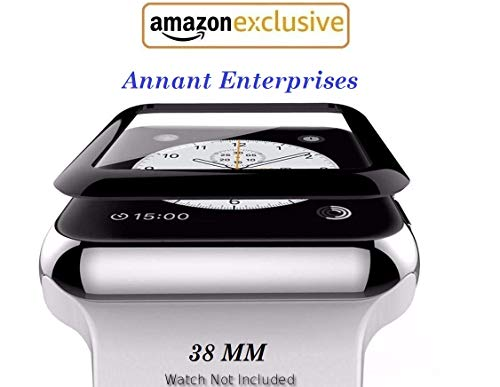 Annant™ Apple iWatch [Full Glue] Screen Protector 38MM [5D Full Edge Coverage] [Anti-Scratch] [High Definition] Tempered Glass for Apple Watch 38mm – Black