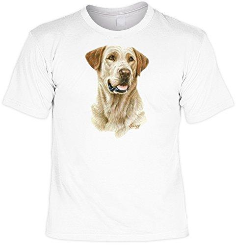 T-Shirt cooles Fun Shirt weiss für Hundefreunde Motiv gelber Labrador, ideales Geschenk, für Herren Frauen Weiß