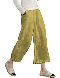 Minetom Pantalon Large à jambes et Fluides pour Femmes Confortable  Elastiqué Grande Taille 3 4 808ed095ded