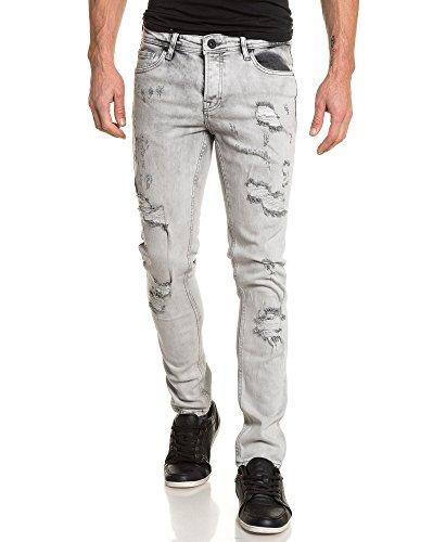 BLZ jeans - Jean grau Mann destroy vollständig verblasst Grau