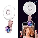 XY-M Professional Beauty Selfie Licht Selfie Clip Flash-Fill Light Mit HD 4K Weitwinkel / 20X Makroobjektiv,Rosegold -