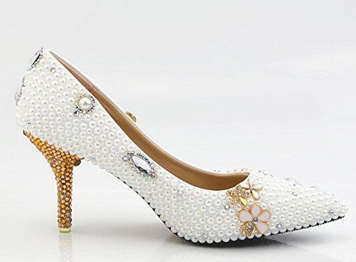 YCMDM Femmes Pure Blanc Perle Diamant Papillon Fleur Mariage Chaussures Ultra Haut Avec Imperméable Chaussures Cristal À La Main 9cm
