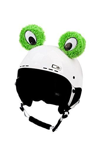 Crazy Ears Helm-Accessoires Ohren Katze Tiger Lux Frosch, Ski-Ohren geeignet für Skihelm, Motorradhelm, Fahrradhelm und vieles mehr. Helm Dekoration für Kinder und Erwachsene, CrazyEars:Grüne Frosch Augen