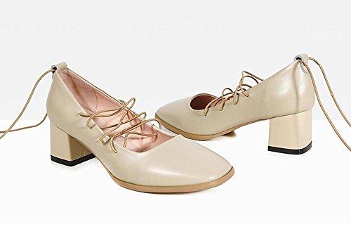 Beauqueen Toes Scarpin Ties quadrati pompe delle donne grosso tacco basso Primavera Estate Scarpe casual da sposa Work Europe formato 34-39 meters white