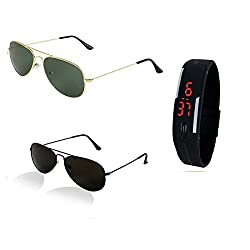 Sunglasses for Womens with Black Led Band Watch (CMB0-002)(Black Black- Golden Green)