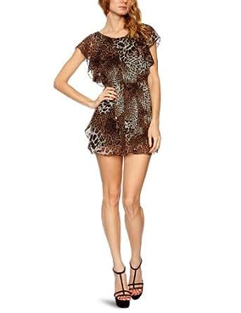 AX Paris Animal Print Elasticated Waist Chiffon Sleeveless Women's Dress Aqua Size 8