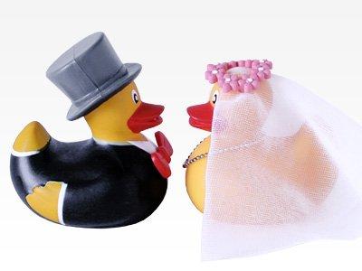 Badeenten Brautpaar - Wanne-geschenk-korb