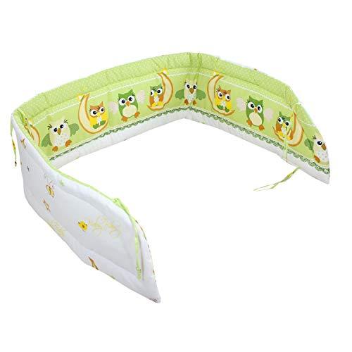 TupTam Baby Kopfumrandung für Babybett, Farbe: Eulen Grün, Größe: 210x30cm (für Babybett 140x70)