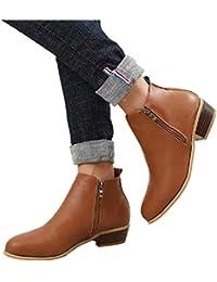 6fe67fce7f3a Boots Femme Talon Bottine Femmes Hiver Daim Cuir Bottes Chelsea Low Chic  Cheville Compensées Grande Taille Chaussures 3cm Bleu…