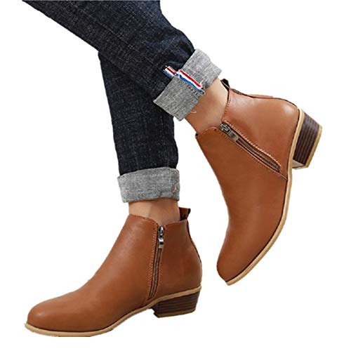Botines Mujer Invierno Tacon Botas Piel Medio Tacon Ancho Ante Botita 3cm Casual Tobillo Ankle Boots Suede Zapatos Marrón Azul Negros 35-43 BR38