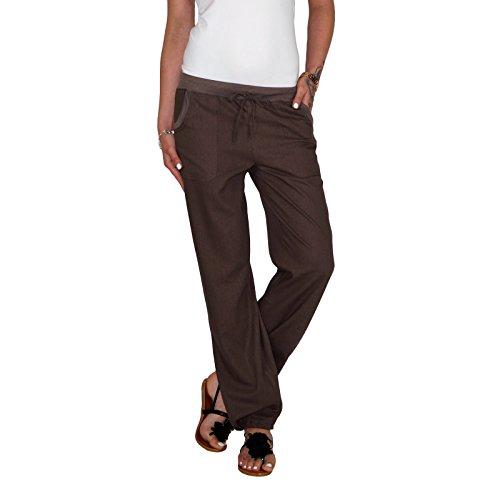 DB Leichte Damen Leinen Sommerhose in schwarz, taupebraun, blau, grau, weiß, beige, khaki, hellblau und rot (XL / 42, Braun) (Leinen Braun)