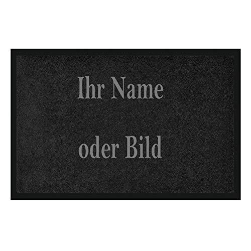 WohnDirect Fußmatte selbst Gestalten I Geschenk mit ihrem Namen/Bild / Logo I große Auswahl, (60x85cm Schwarz)