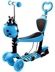 AMDirect Patinete 5 en 1 Patín Scooter con 3 Ruedas Led Luz con Asiento y Cesto Desmontable Manillar Ajustable Con Freno de Fricción Posterior para Niños (Azul)