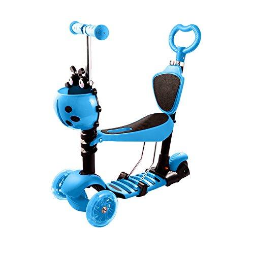 WeSkate Monopattini a 3 Ruote per Bambini con sedile Scooter Pieghevole Portatile Regolabili 3 in 1 con rotelle luminose a LED per bambini Ragazzi Ragazze di 2 anni e superiori, supporto da 110 libbre