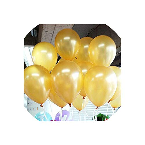 Archiba 10pcs Glossy Metal Pearl Latex Balloons Thick Chrome Metallic Inflatable Air Balloons Birthday Party Decoration,10inch 1.5g Gold