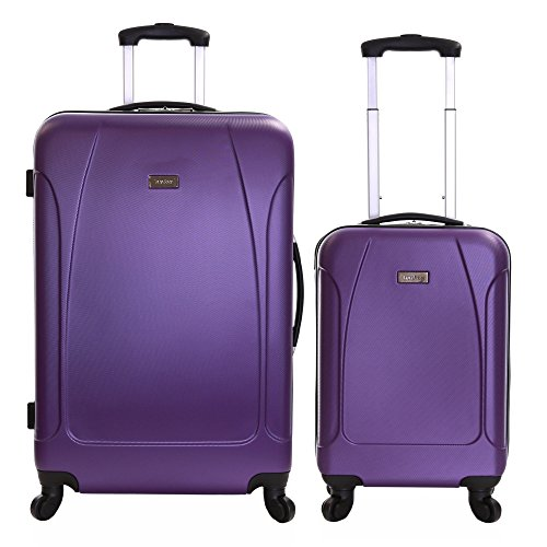 Karabar set di 2 trolley bagaglio a mano e da stiva valigie rigida leggera - grande XL 76 cm 4,4 kg 100 litri - piccolo S 55 cm 2,4 kg 35 litri - con 4 ruote robuste, Evora Viola