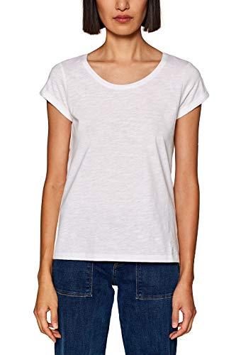 edc by ESPRIT Damen 999CC1K802 Langarmshirt, Weiß (White 100), Large (Herstellergröße: L)