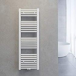 HEATSUPPLY Badheizk/örper elektrisch 1.142 x 600mm Handtuchheizk/örper 600 Watt Handtuchtrockner schwarz matt inkl Handtuchw/ärmer Heizstab mit Smart Thermostat