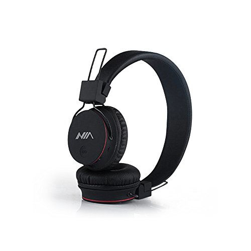 Bluetooth Kopfhörer, Freisprech Kopfhörer für Iphone, Ipad, Samsung, Sony, HTC, Huawei, Smartphones, Tabletten, Mikro SDHC / TF Karte und MP3 / MP4 (Schwarz)