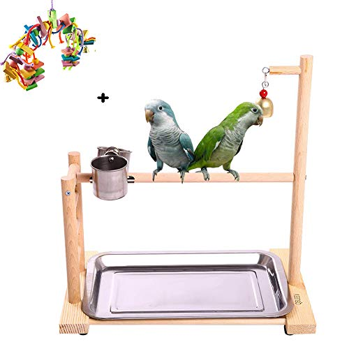 WTTTTW Vogel-Papageien-Spielstand Spielplatz, hölzerner Barsch-Turnhallen-Stand-Laufgitter-Leiter mit Kauspielzeug-Übungs-Spielgymnastik -