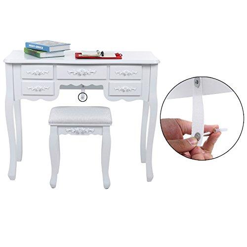 Songmics weiß 7 schubladen Schminktisch mit spiegel und hocker, inkl. 2 Stück Unterteiler, Kippsicherung, 145 x 90 x 40 cm RDT10W - 4