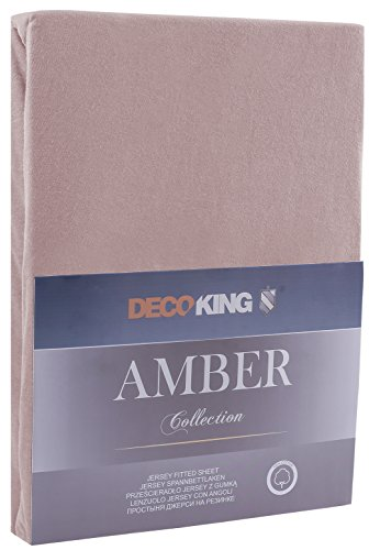 DecoKing 18248 80x200-90x200 cm Spannbettlaken Cappuccino 100% Baumwolle Jersey Boxspringbett Spannbetttuch Bettlaken Betttuch beige Amber Collection - 2