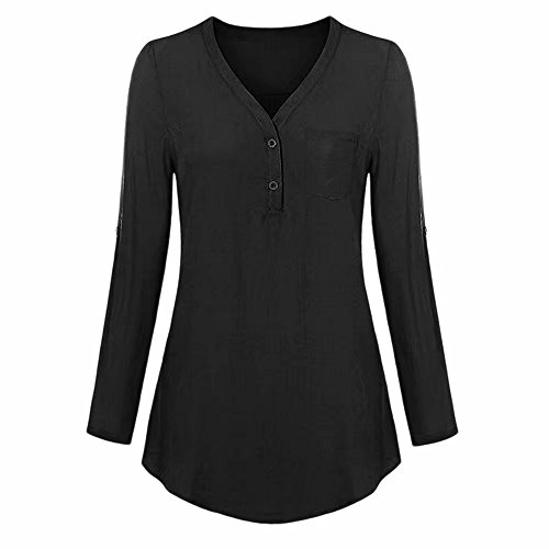 Damen Tops Daoroka Damen 3/4-Roll-Up-Ärmel V-Ausschnitt Taschen Knopf Split Casual Lose Mode Solide Herbst Bluse Hemd L schwarz -