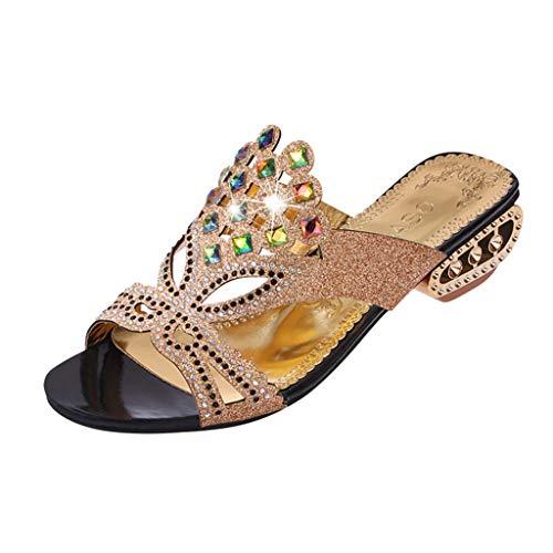 Mitlfuny Damen Sommer Sandalen Bohemian Flach Sandaletten Sommer Strand Schuhe,Damenmode Lässig Kristall Aushöhlen Outdoor Hausschuhe Med Heels Schuhe (Cushe Womens Schuhe)