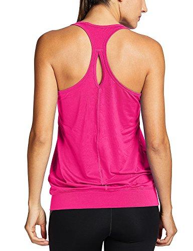 SYROKAN Damen Sport T-Shirt Tank Top - Ringerrücken Gym Elastische Fitness Magenta 44 (XL)