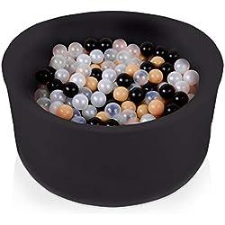 FUNGO Piscine A Balle pour Bébé 90x40 Piscine À Balle pour Enfant avec 200 Ou 300 Balles (200 Balles, Noir:Transparent/Beige/Noir/Perle)