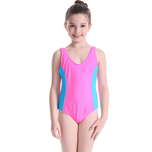 Shiningup Kids Girl Swimsuits Competitive Athletic One-Piece Swimwear Splice Fashion Racerback Costumes for 5-12 Years Old