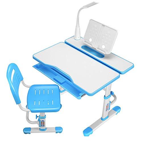 YFASD Kinderschreibtisch mit Stuhl und Schublade höhenverstellbar LED Lampe Schreibtisch Kinder und Schüler Schülerschreibtisch Set,B