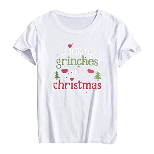 Zylione Weihnachten Xmas Weihnachts T-Shirt Herren Damen Weihnachts-Shirt Tops Mit Rundhals Ausschnitt Fun Drucken Santa T-Shirt Blusen Tuniken