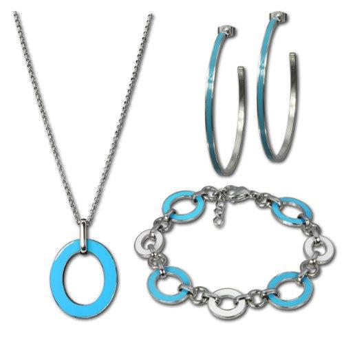 Amello Parure in acciaio inox smaltato ovale turchese set Parure composta da collana, braccialetto, orecchini, Stainless Steel ESSG02T