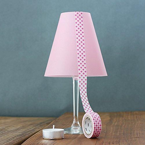 DIE ZARTE HELENE - 3 Weinglas Lampenschirme uni - aus Transparentpapier (rosa)
