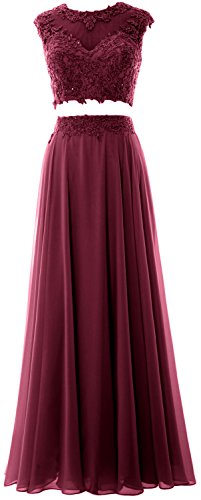 MACloth Women 2 Piece Long Prom Dress Lace Chiffon Formal Party Evening Gown (EU38, Wine Red)