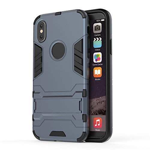 Custodia iPhone X, Voguecase 2 in 1 Duro Cover Case Difensore Bumper Antiurto Posteriore with Assorbimento-Urti [Kickstand] Armatura Cell Cover Duro PC + Morbido TPU Leggero Gomma Protettivo Custodia 2 in 1-blu nero