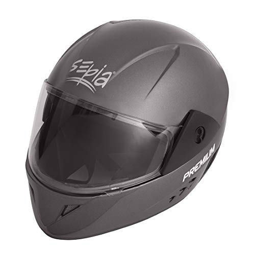 Sepia Premium Rider Full Face Helmet (Metallic Grey, M to L) ISI Approved