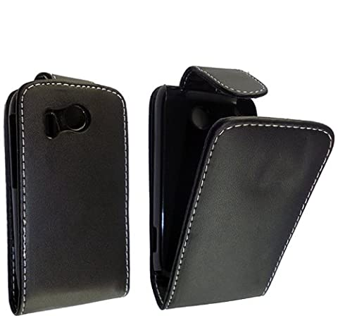 Mobile Extra Ltd™ For HTC EXPLORER A310E New Latest Stylish Beautiful Smooth Plain Black Pouch PU Leather Hot Selling Magnetic Protected Flip Case Cover + Free