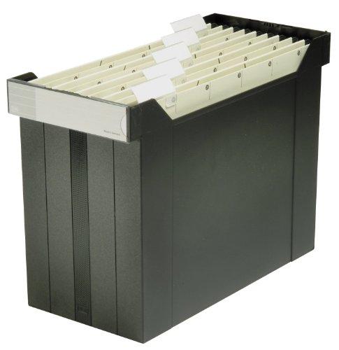 ELBA 400005232 Hängemappen-Box go set 1 Stück gefüllt mit 5 farbigen Hängemappen Das mobile Büro schwarz Hängemappen-Koffer ohne Deckel Hängeablage-Box Hängemappen-Registratur