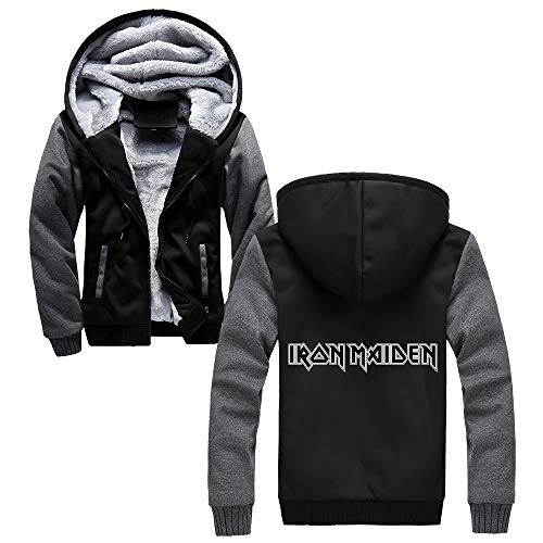 Unisex Iron Maiden Sudaderas Abrigo de invierno for hombre del deporte, además de terciopelo con capucha Prendas de vestir exteriores de la personalidad de la chaqueta de béisbol Impreso Iron Maiden S