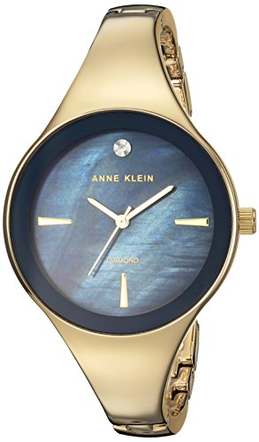 Anne Klein Women's Quartz Metal and Alloy Dress Watch, Color Gold-Toned (Model: AK/2974NVGB)