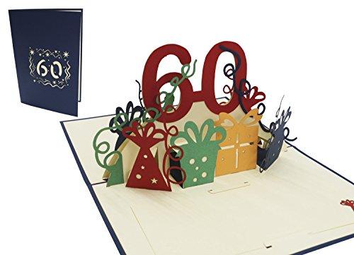 LIN POP UP Karte 3D Grußkarte Geburtstagkarte 60. Geburtstag party, blau (#23)