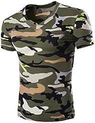 Tefamore Hommes Chemisier d'été Chemisier de camouflage Hommes T-shirt à manches courtes