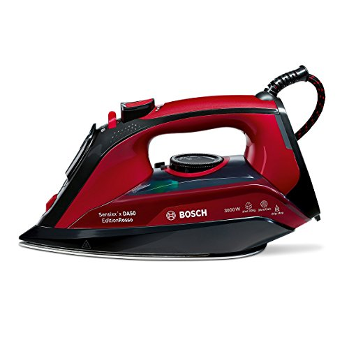 Bosch TDA503001P - Plancha de vapor, 3000 W, suela Ceranium Glisee, vapor vertical, color granate