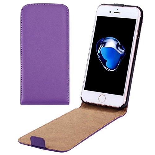 Custodia iPhone 7, Per il caso di cuoio di iPhone 7 verticale flip Genuine Split ( Color : Purple )