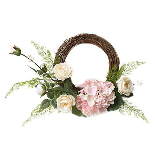 AUTOECHO Vintage Rattan-Seidenblumenkranz zum Aufhängen von Hochzeiten, Dekorationen - Jahr rund, wunderschöner Seiden-Kranz verwandelt die Tür an der Vorderseite